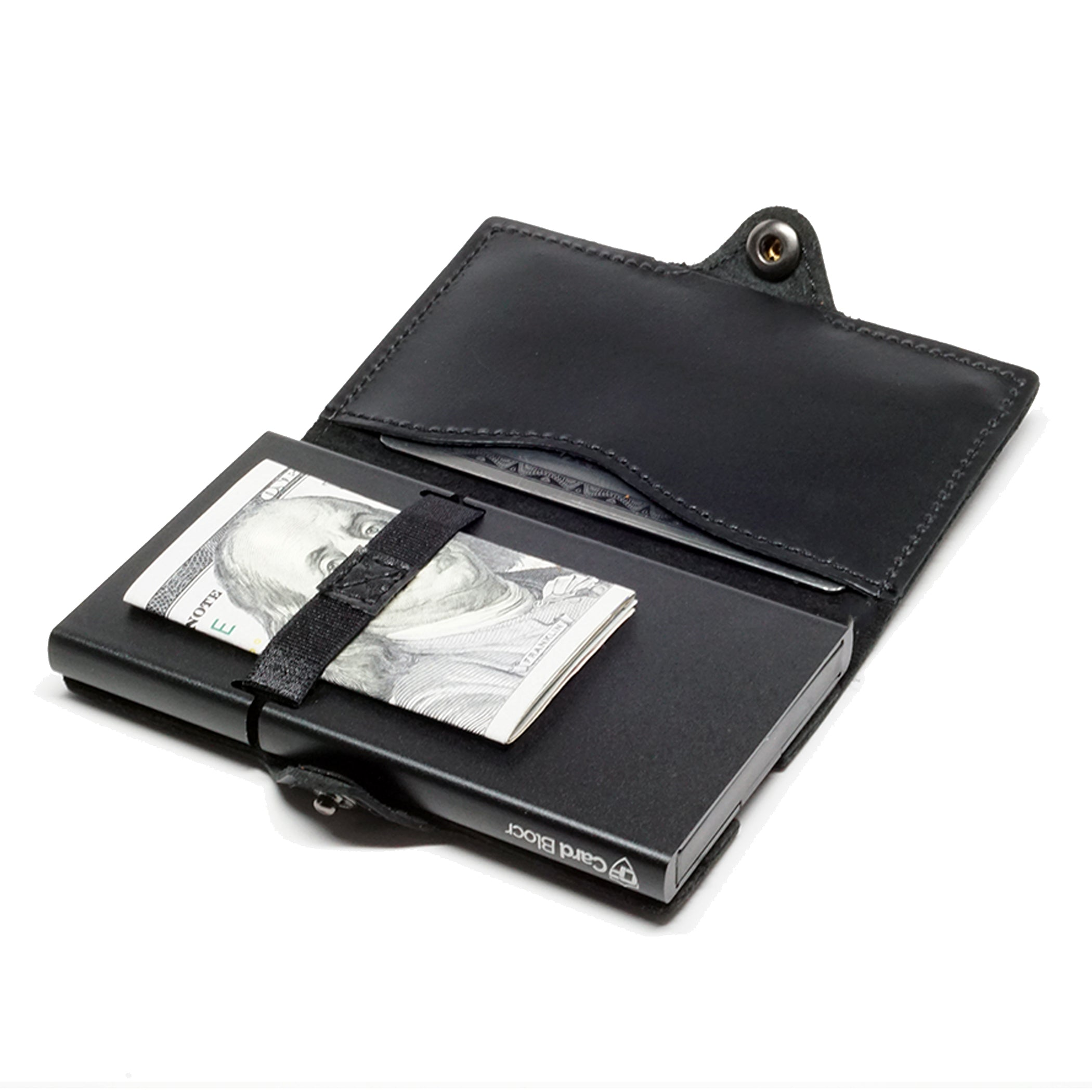 Card Blocr Credit Card Wallet in Black Leather | RFID Wallet Open