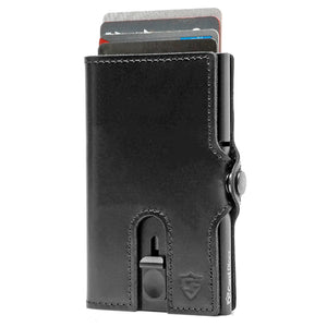 Card Blocr Credit Card Wallet in Black Leather | RFID Wallet Cards Up