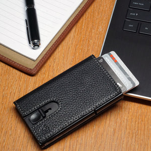 Card Blocr Credit Card Holder in Black Wrapped in Black Leather | RFID Wallet Cards