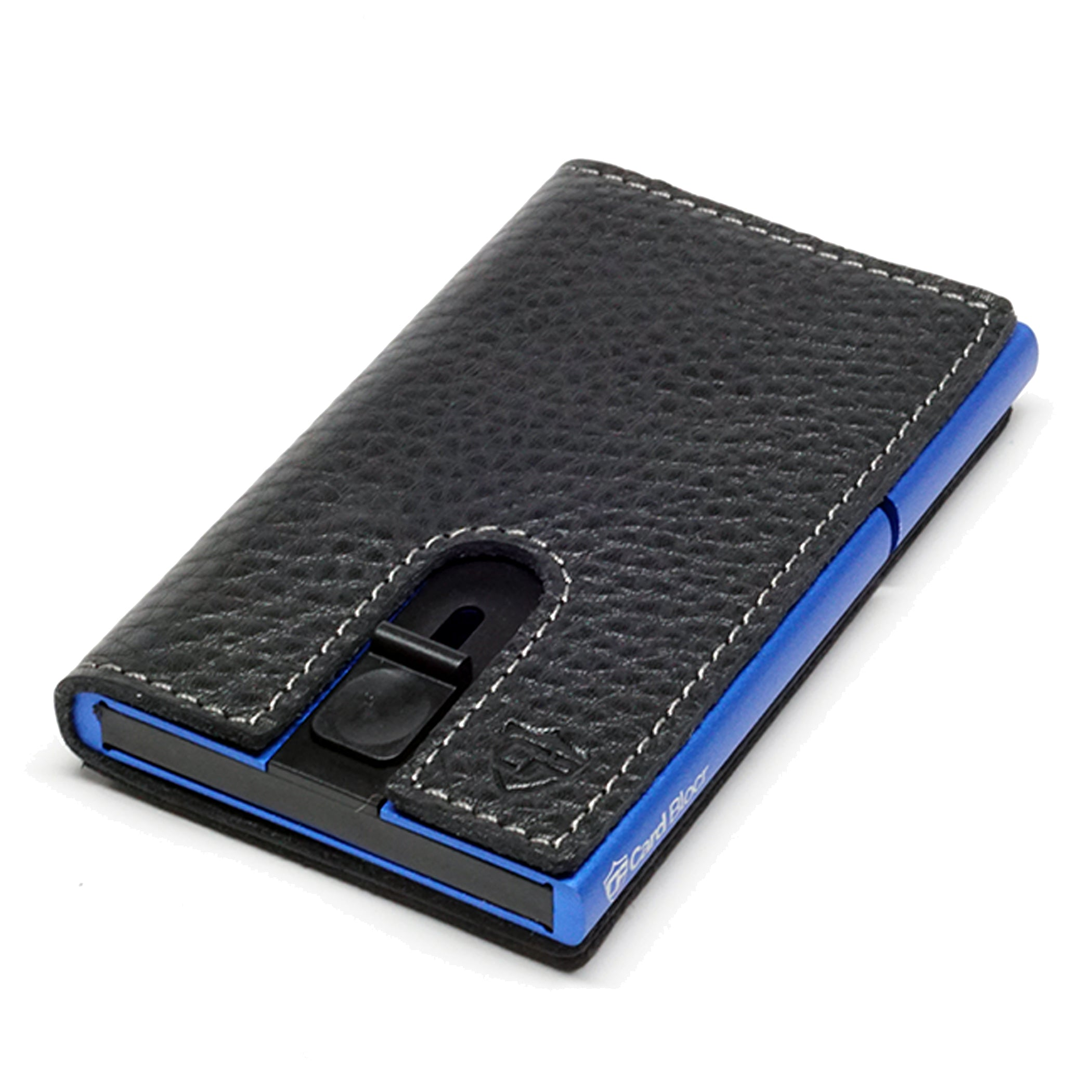 Card Blocr Credit Card Holder in Blue Wrapped in Black Leather | RFID Wallet 45 No Cards