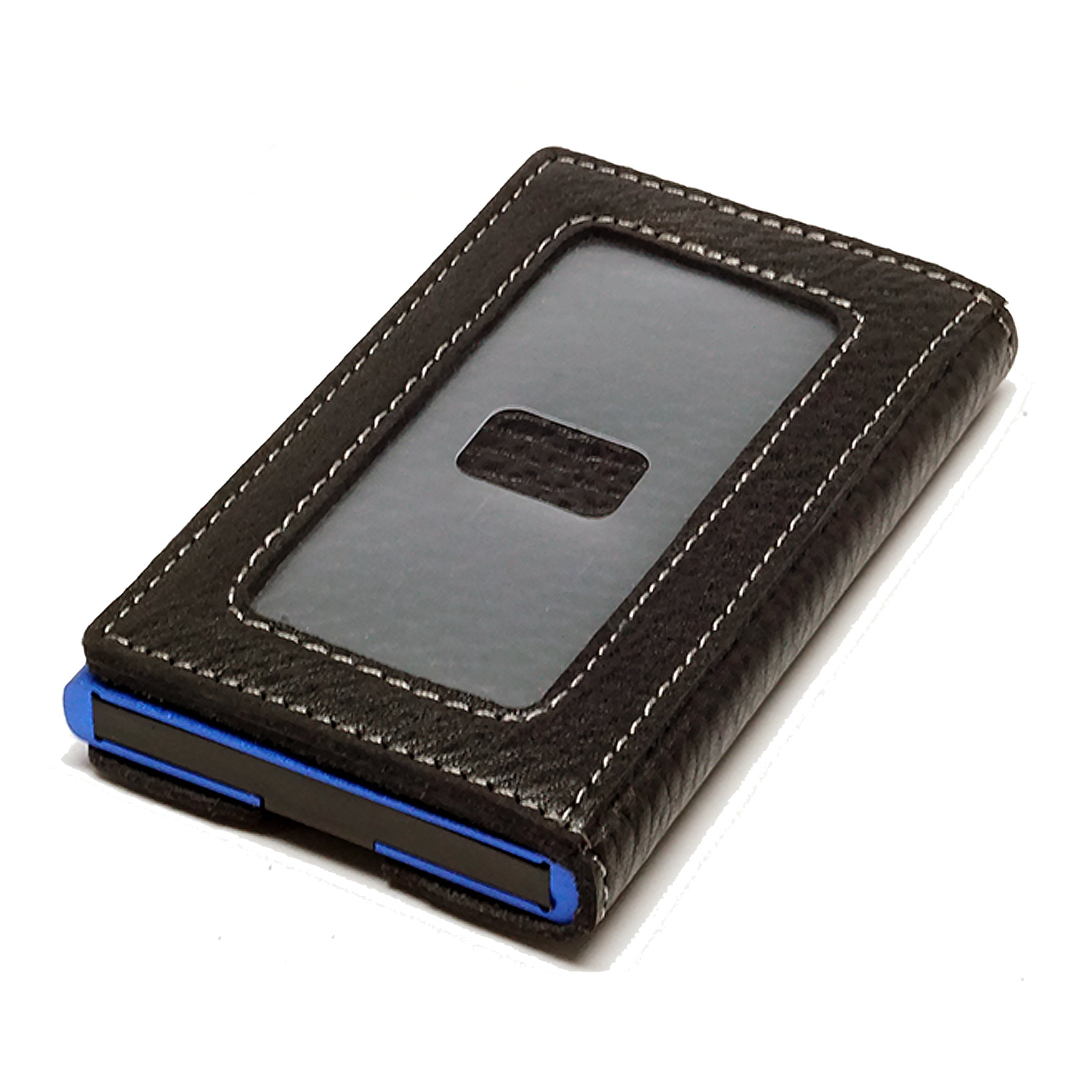 Card Blocr Credit Card Holder in Blue Wrapped in Black Leather | RFID Wallet Backside