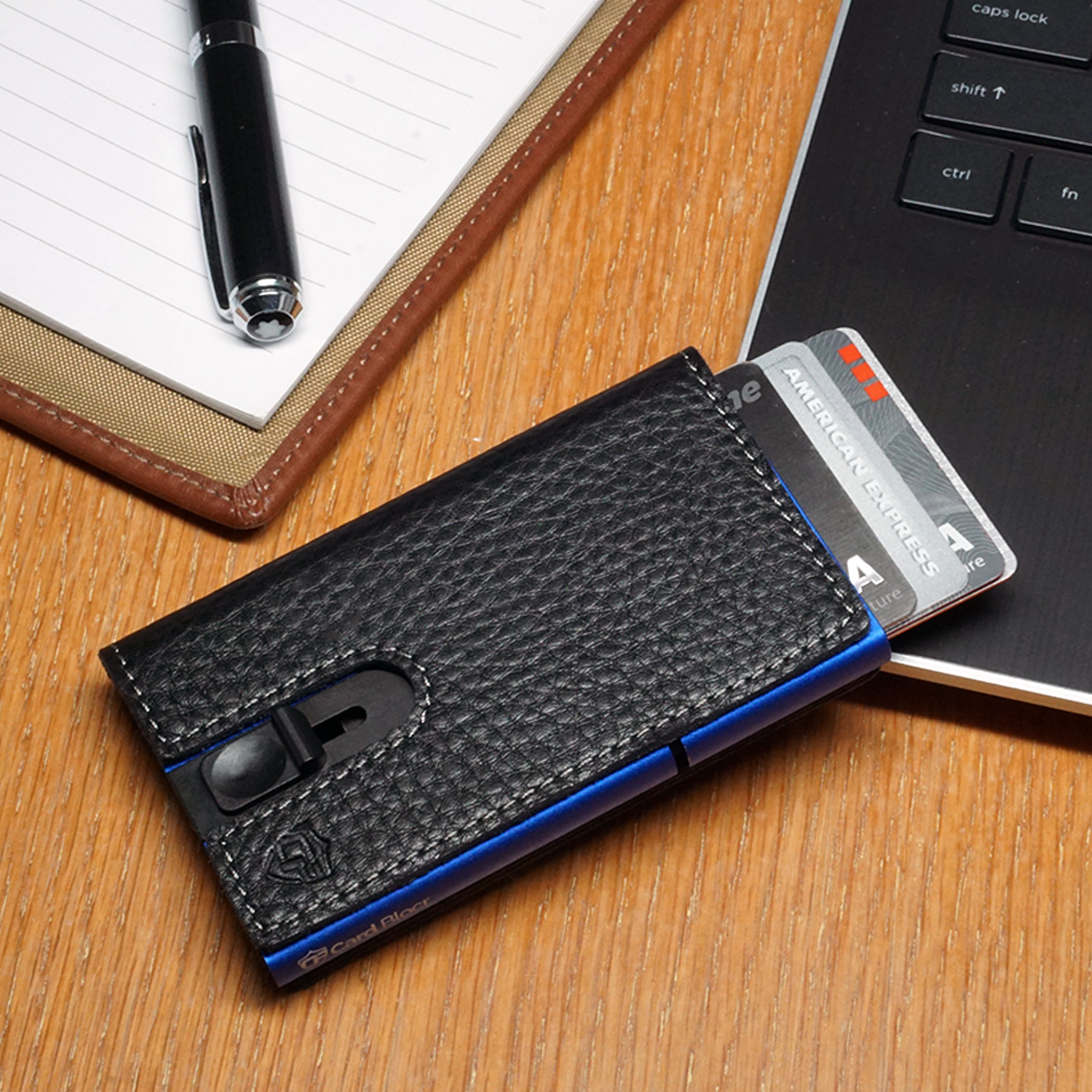 Card Blocr Credit Card Holder in Blue Wrapped in Black Leather | RFID Wallet 45 Cards
