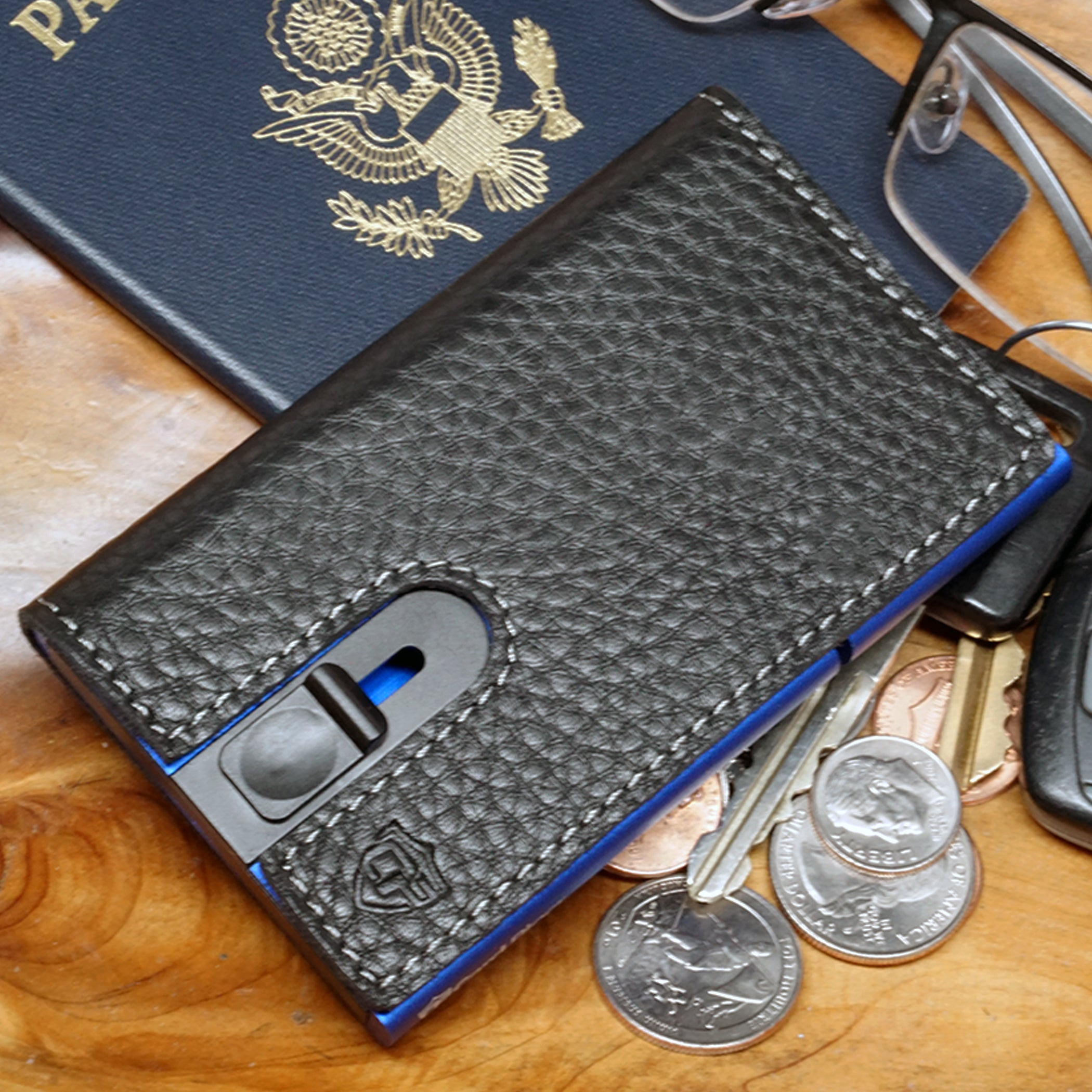 Card Blocr Credit Card Holder in Blue Wrapped in Black Leather | RFID Wallet Travel