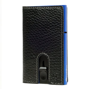 Card Blocr Credit Card Holder in Blue Wrapped in Black Leather | RFID Wallet No Cards