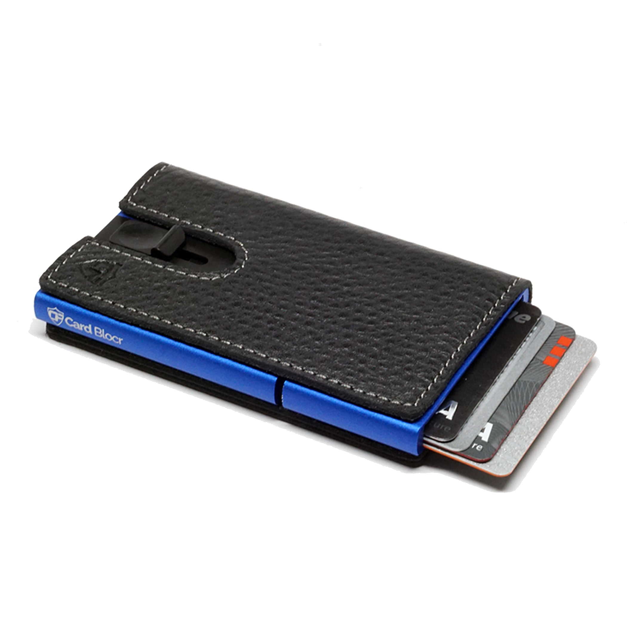 Card Blocr Credit Card Holder in Blue Wrapped in Black Leather | RFID Wallet 45