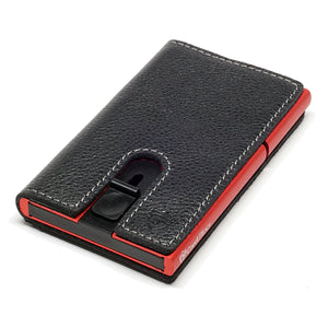 Card Blocr Credit Card Holder in Red Wrapped in Black Leather | RFID Wallet 45 No Cards