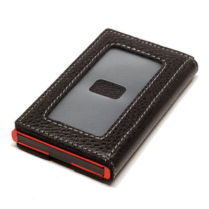 Card Blocr Credit Card Holder in Red Wrapped in Black Leather | RFID Wallet Backside No Cards