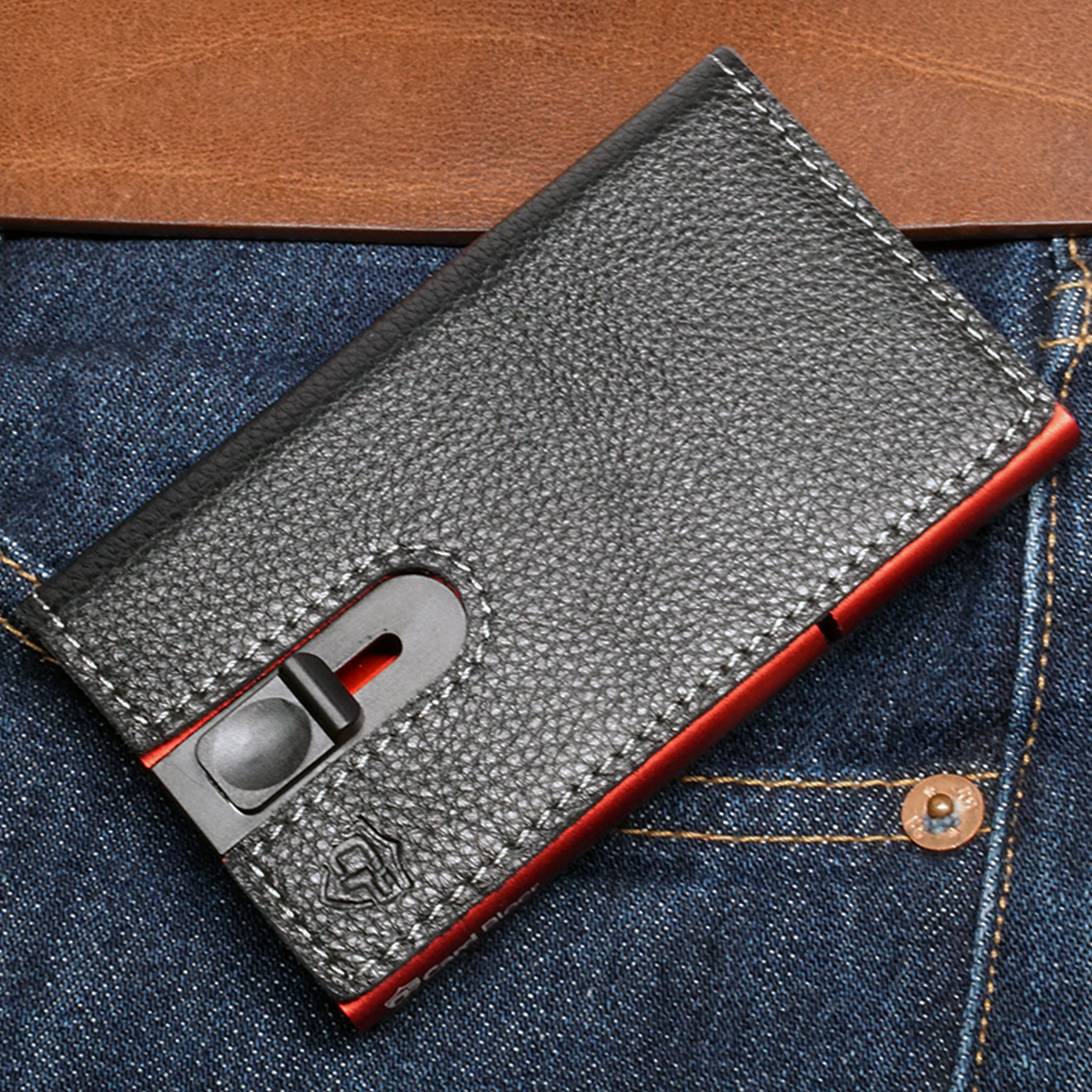 Card Blocr Credit Card Holder in Red Wrapped in Black Leather | RFID Wallet Front Pocket