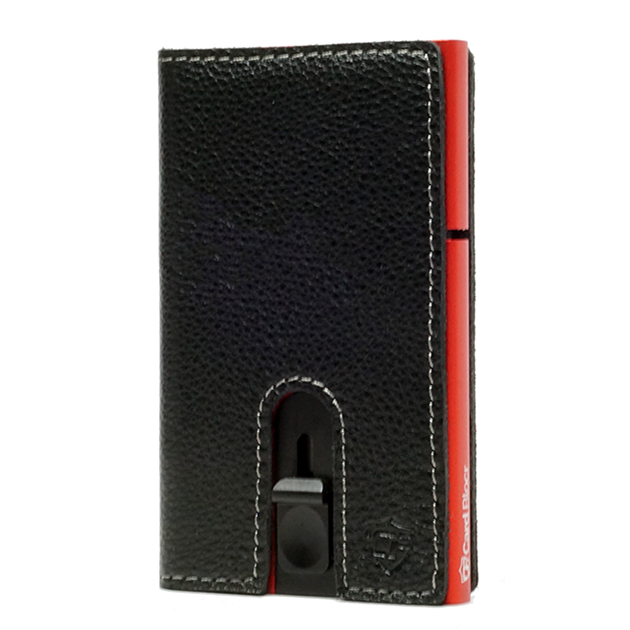 Card Blocr Credit Card Holder in Red Wrapped in Black Leather | RFID Wallet No Cards
