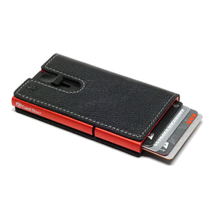 Card Blocr Credit Card Holder in Red Wrapped in Black Leather | RFID Wallet 45