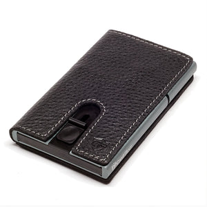 Card Blocr Credit Card Holder in Titanium Color Wrapped in Black Leather | RFID Wallet 45 No Cards