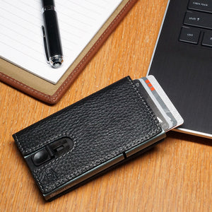 Card Blocr Credit Card Holder in Titanium Color Wrapped in Black Leather | RFID Wallet 45 Cards