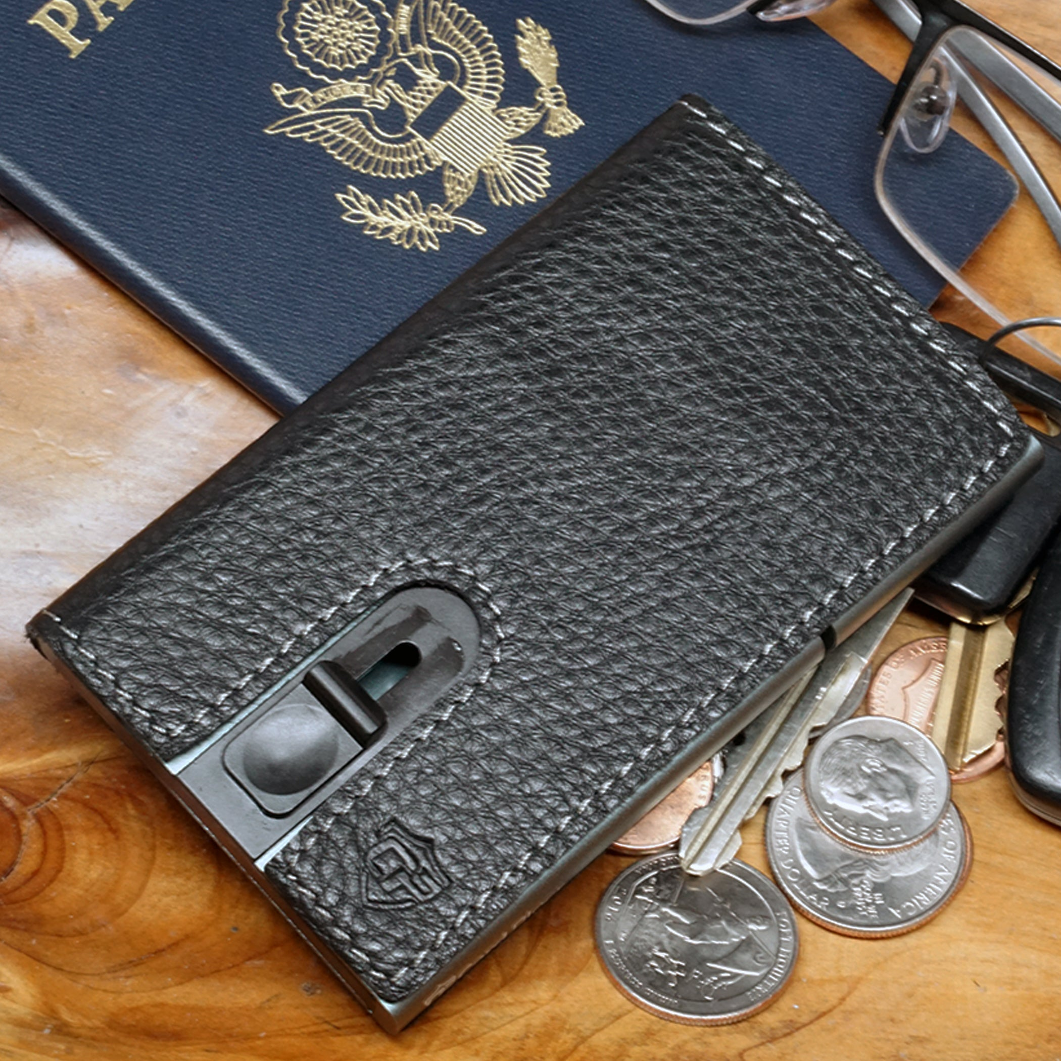 Card Blocr Credit Card Holder in Titanium Color Wrapped in Black Leather | RFID Wallet Travel