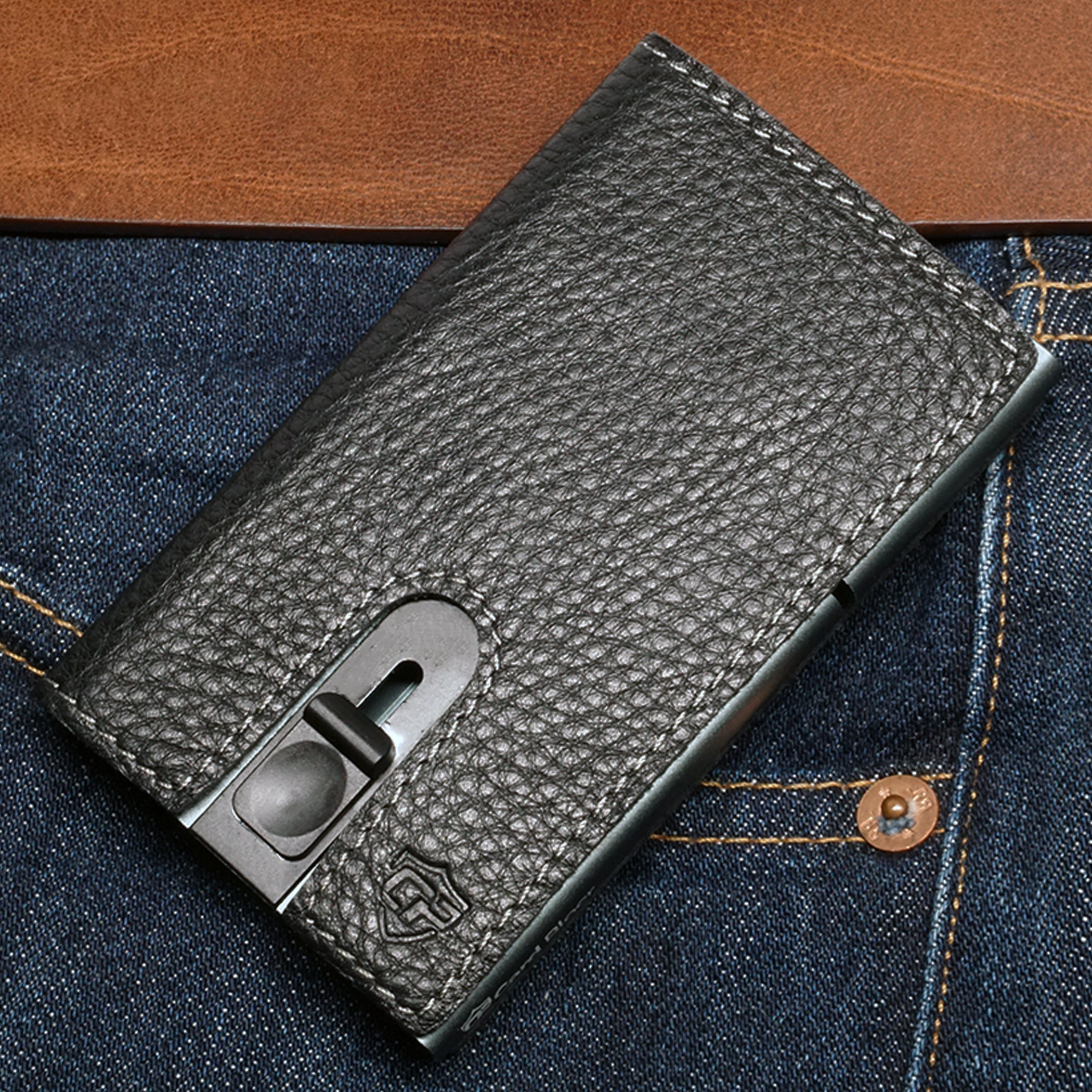Card Blocr Credit Card Holder in Titanium Color Wrapped in Black Leather | RFID Wallet Front Pocket
