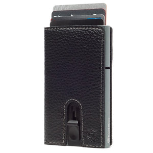 Card Blocr Credit Card Holder in Titanium Color Wrapped in Black Leather | RFID Wallet Cards