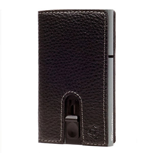 Card Blocr Credit Card Holder in Titanium Color Wrapped in Black Leather | RFID Wallet No Cards