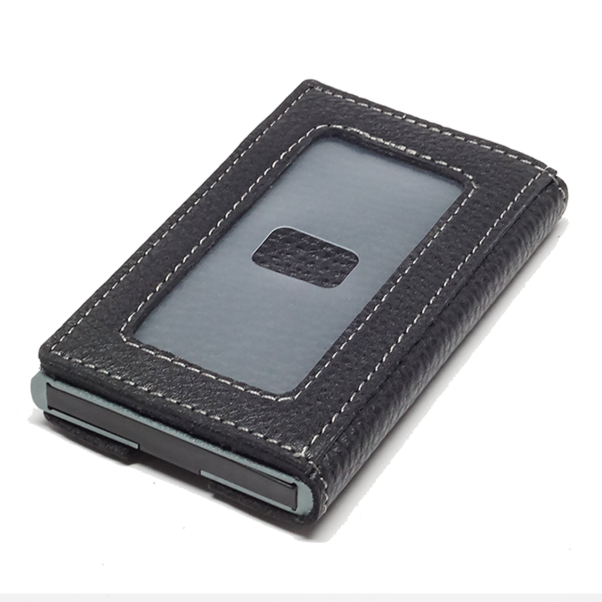 Card Blocr Credit Card Holder in Titanium Color Wrapped in Black Leather | RFID Wallet Backside