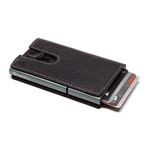 Card Blocr Credit Card Holder in Titanium Color Wrapped in Black Leather | RFID Wallet 45