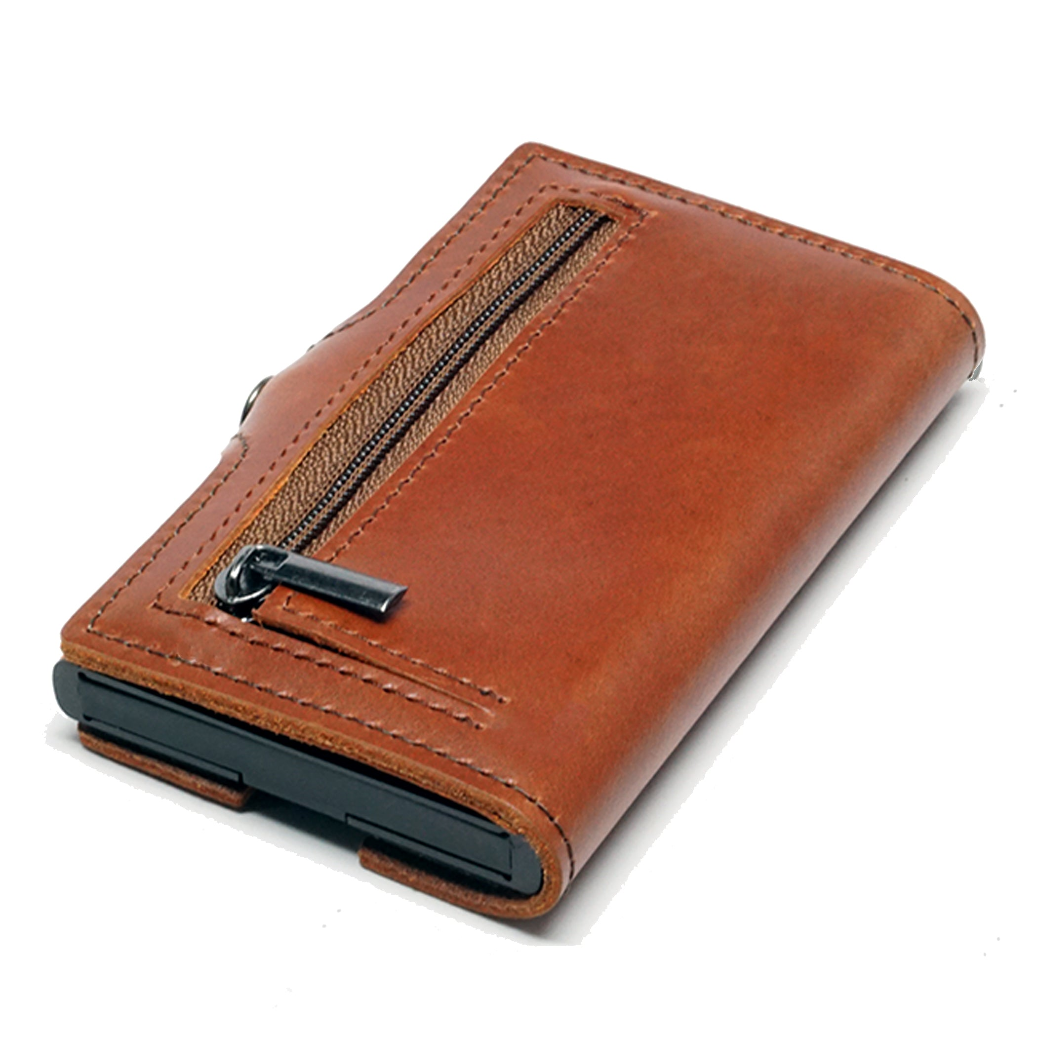 Card Blocr Credit Card Wallet in Brown Leather | RFID Wallet Backside
