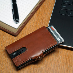 Card Blocr Credit Card Wallet in Brown Leather | RFID Wallet Cards Out