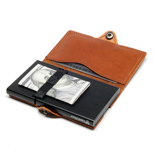 Card Blocr Credit Card Wallet in Brown Leather | RFID Wallet Open