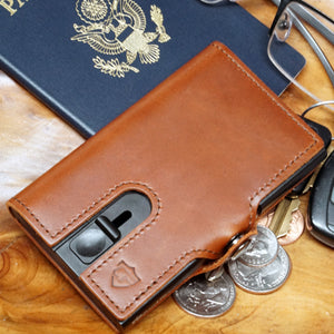 Card Blocr Credit Card Wallet in Brown Leather | RFID Wallet Travel