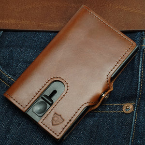 Card Blocr Credit Card Wallet in Brown Leather | RFID Wallet Front Pocket