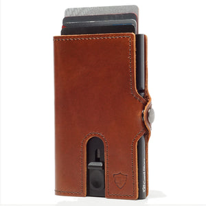 Card Blocr Credit Card Wallet in Brown Leather | RFID Wallet Cards Up