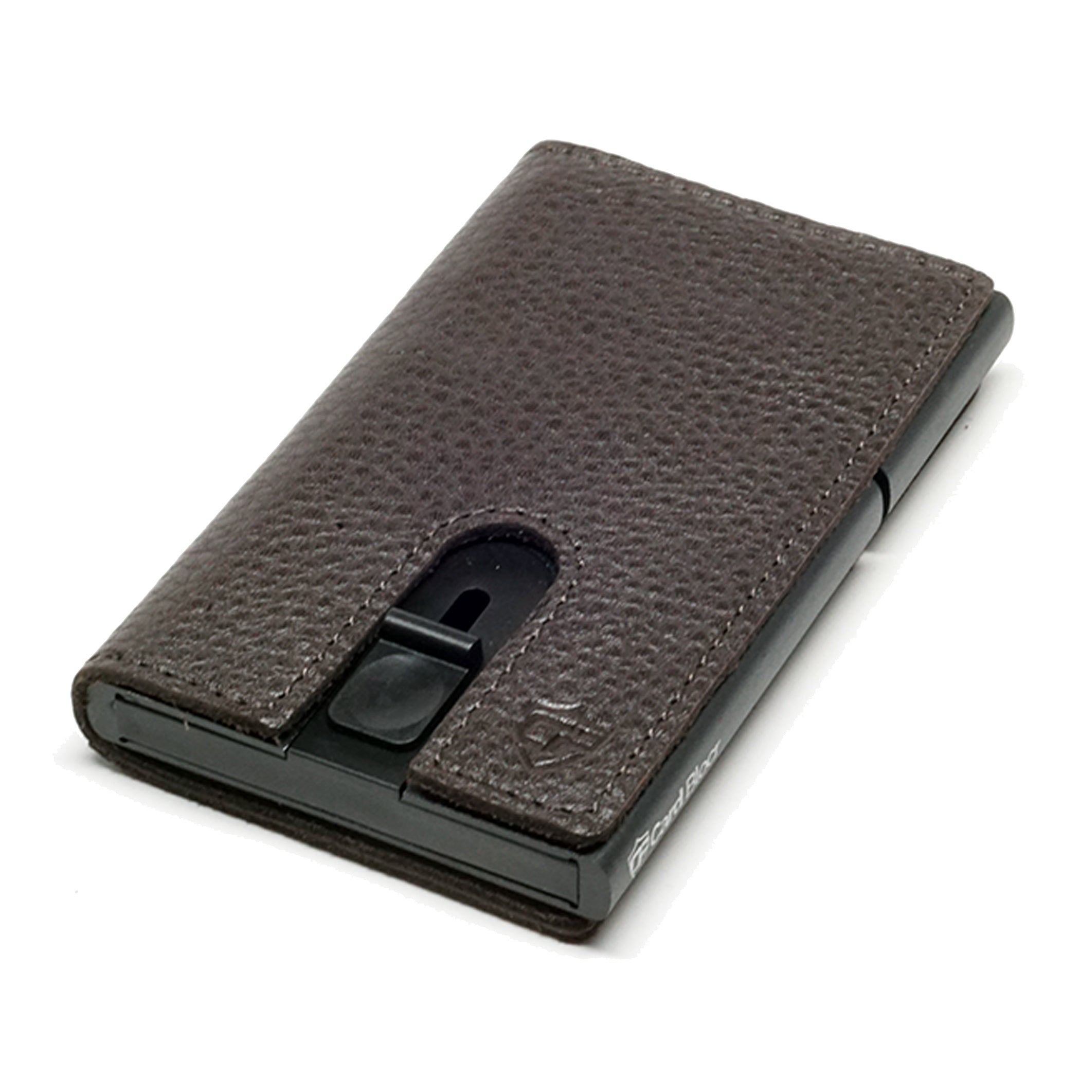 Card Blocr Credit Card Holder in Black Wrapped in Dark Chocolate Brown Leather | RFID Wallet 45 No Cards