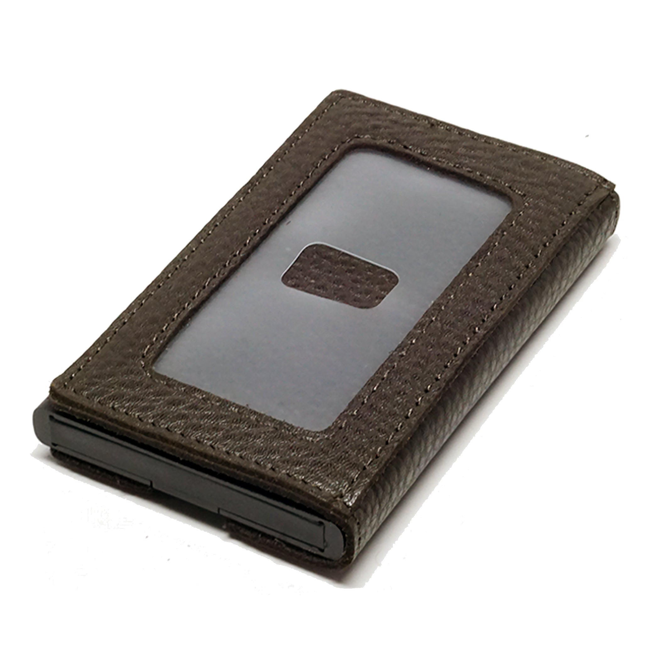 Card Blocr Credit Card Holder in Black Wrapped in Dark Chocolate Brown Leather | RFID Wallet Backside