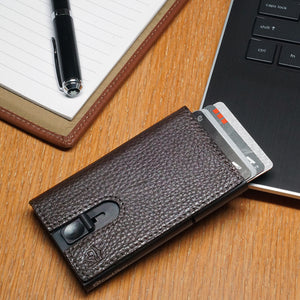 Card Blocr Credit Card Holder in Black Wrapped in Dark Chocolate Brown Leather | RFID Wallet 45 Cards