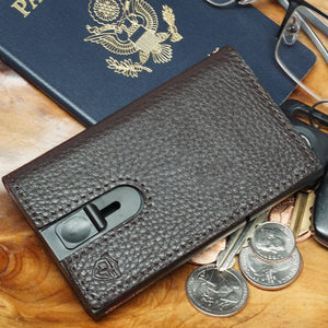 Card Blocr Credit Card Holder in Black Wrapped in Dark Chocolate Brown Leather | RFID Wallet Travel