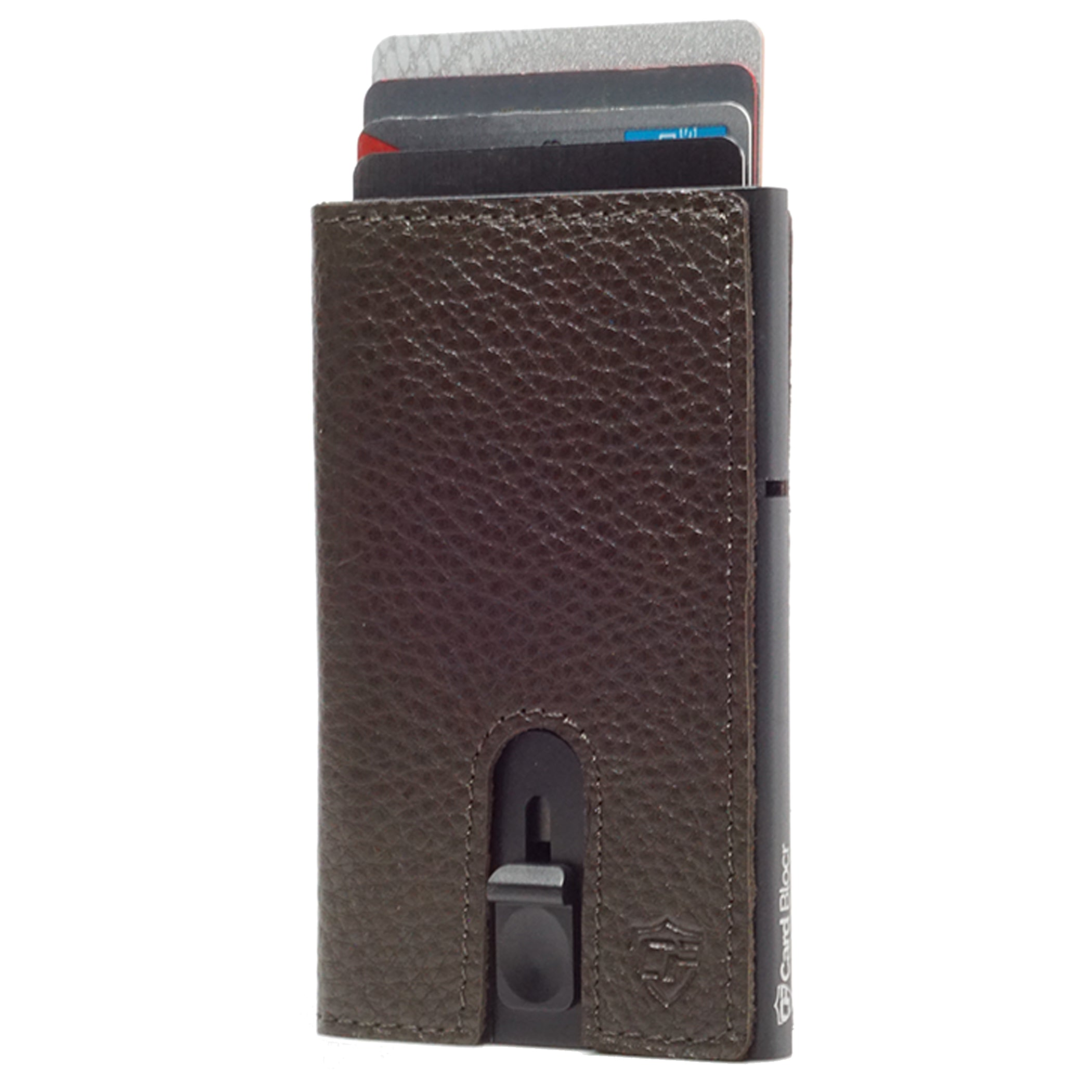Card Blocr Credit Card Holder in Black Wrapped in Dark Chocolate Brown Leather | RFID Wallet Cards Up