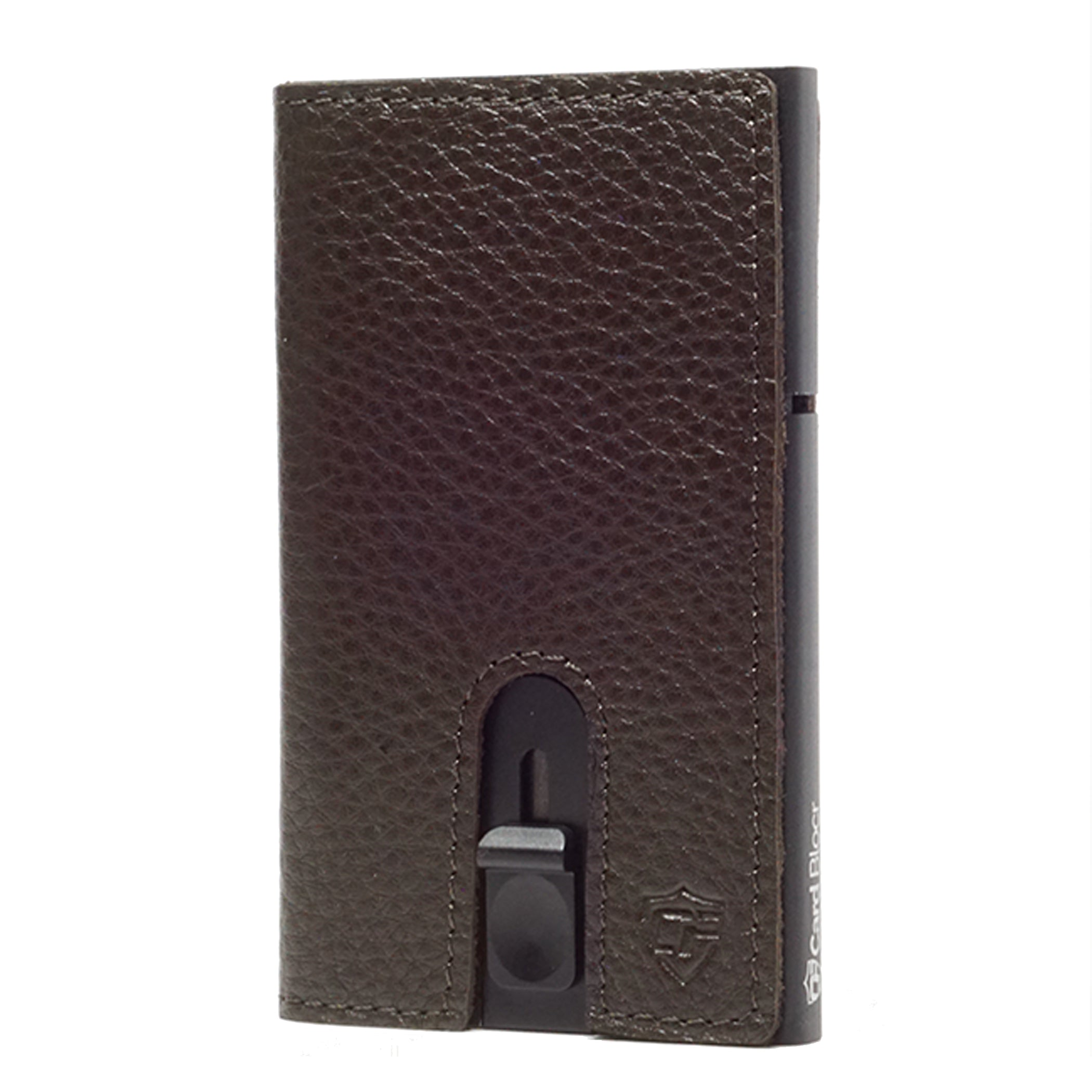 Card Blocr Credit Card Holder in Black Wrapped in Dark Chocolate Brown Leather | RFID Wallet No Cards