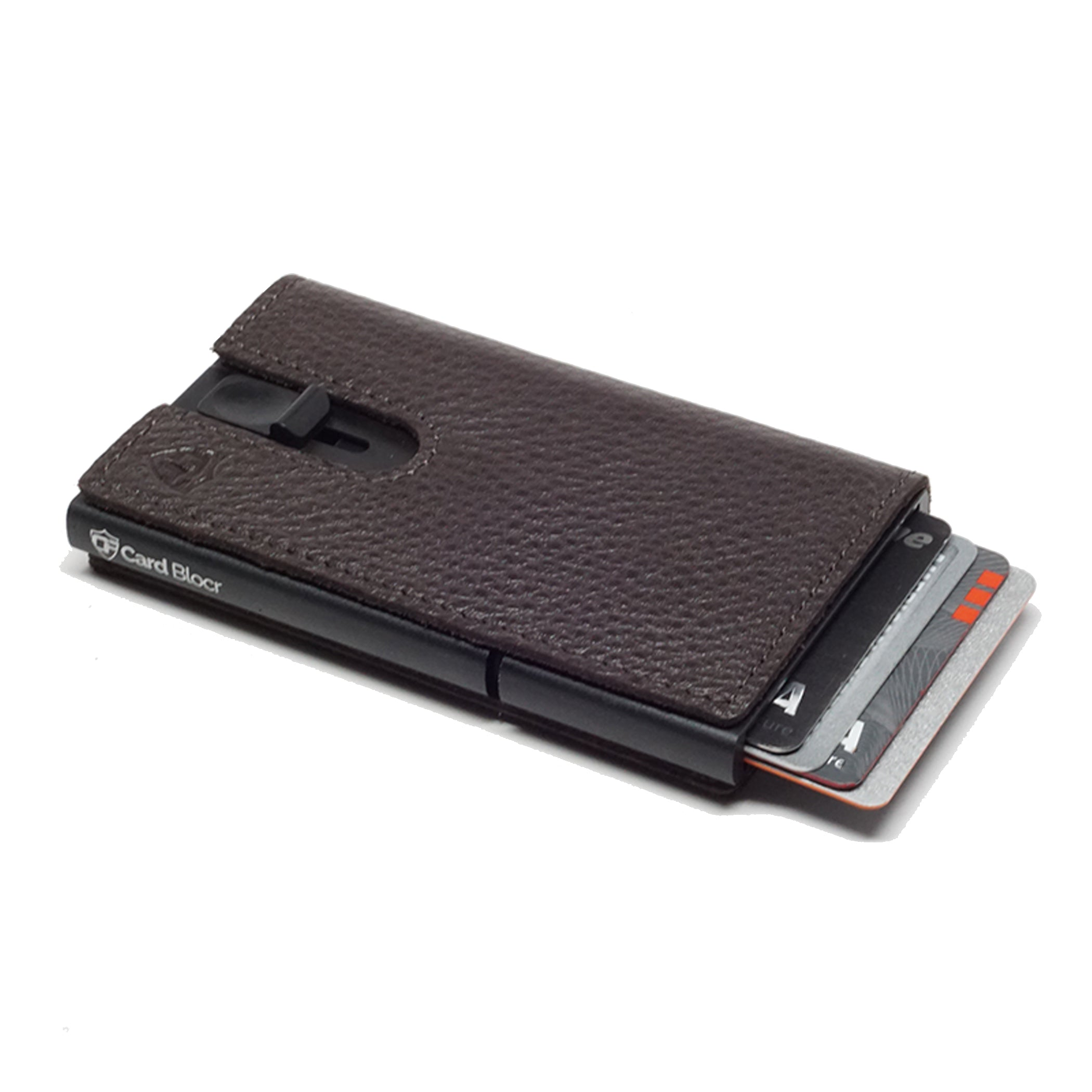 Card Blocr Credit Card Holder in Black Wrapped in Dark Chocolate Brown Leather | RFID Wallet 45