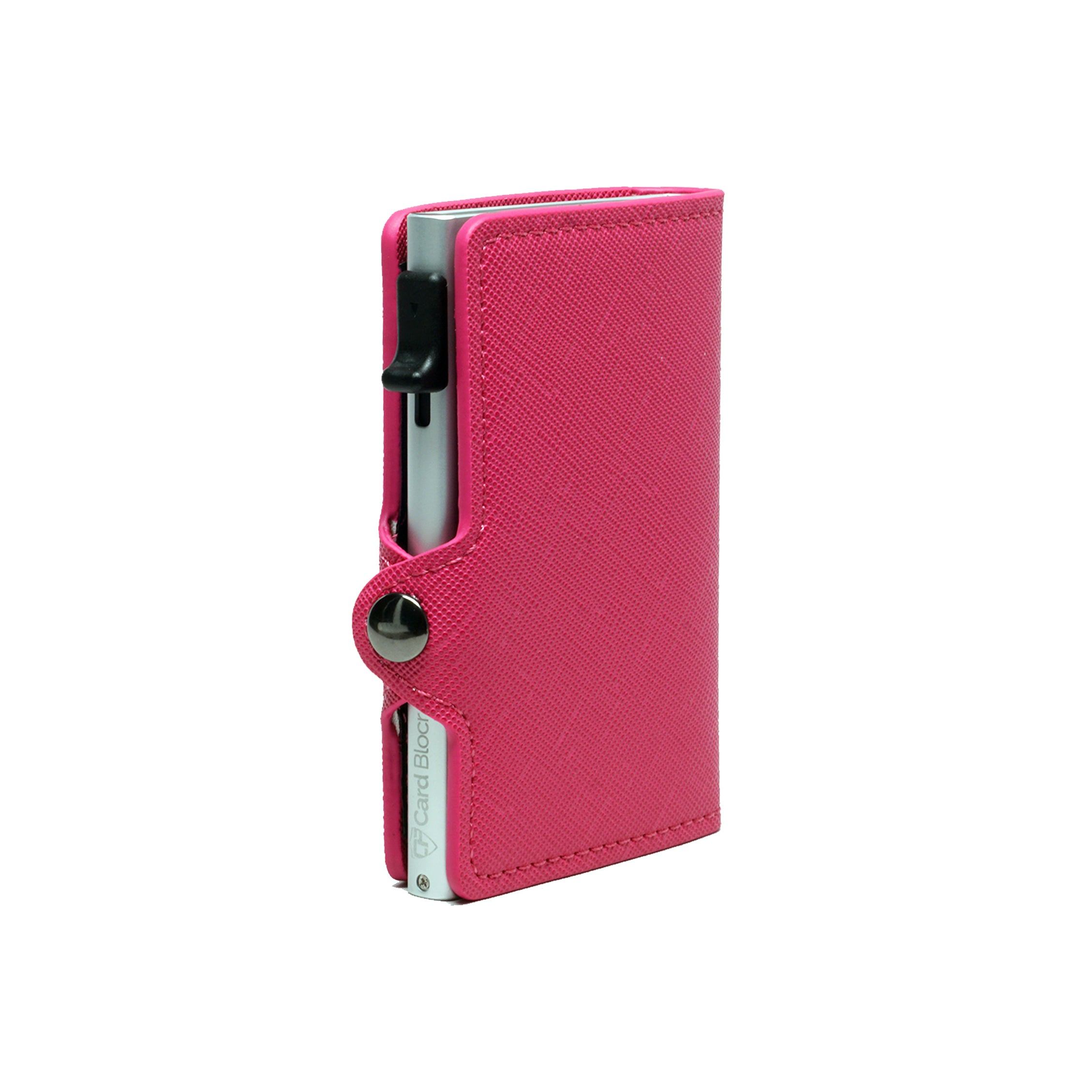 Card Blocr Credit Card Wallet Saffiano Pink PU Leather and Silver Metal Minimalist Wallet