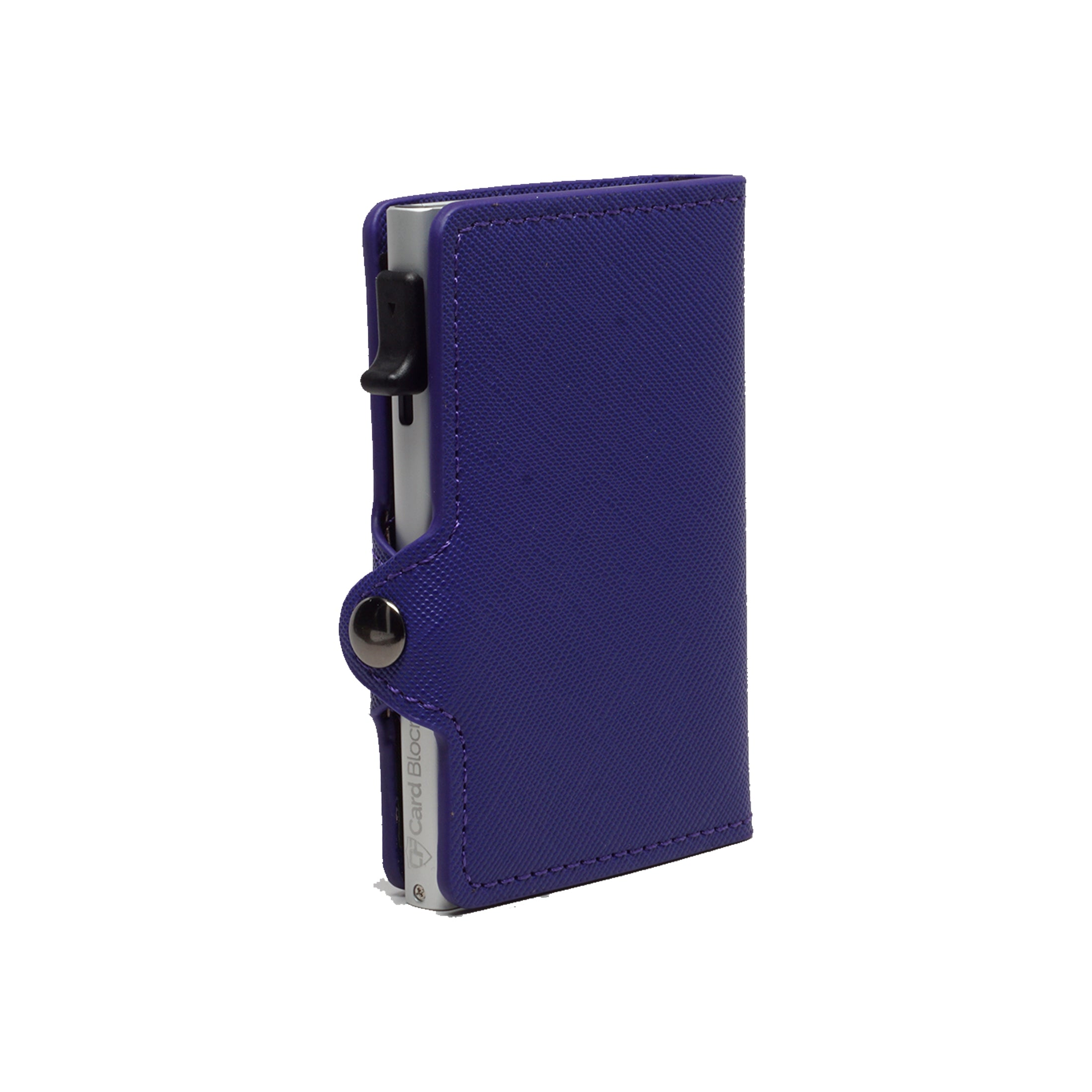 Card Blocr Credit Card Wallet Saffiano Purple PU Leather and Silver Metal Minimalist Wallet
