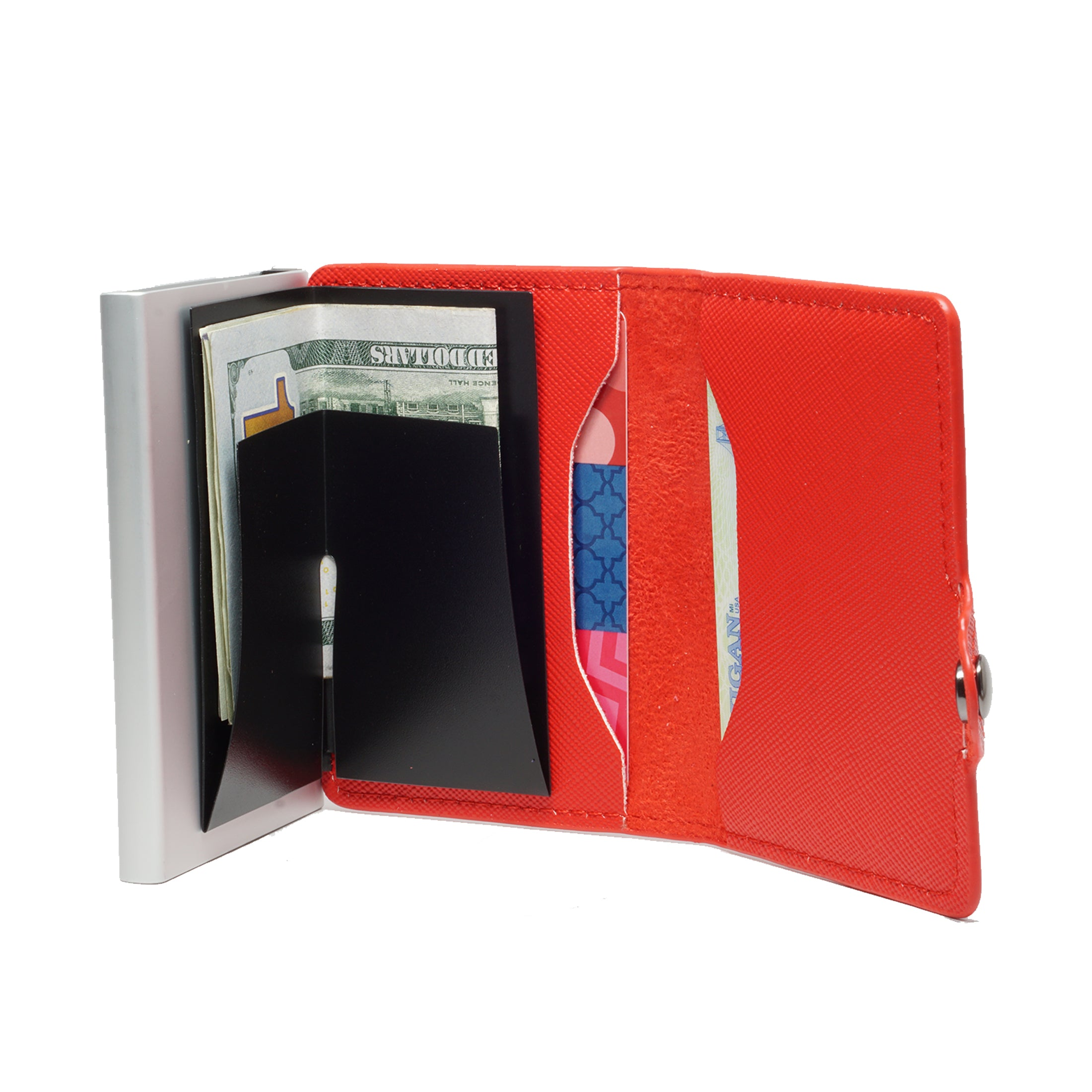 Card Blocr Credit Card Wallet Saffiano Red PU Leather and Silver Metal Minimalist Wallet