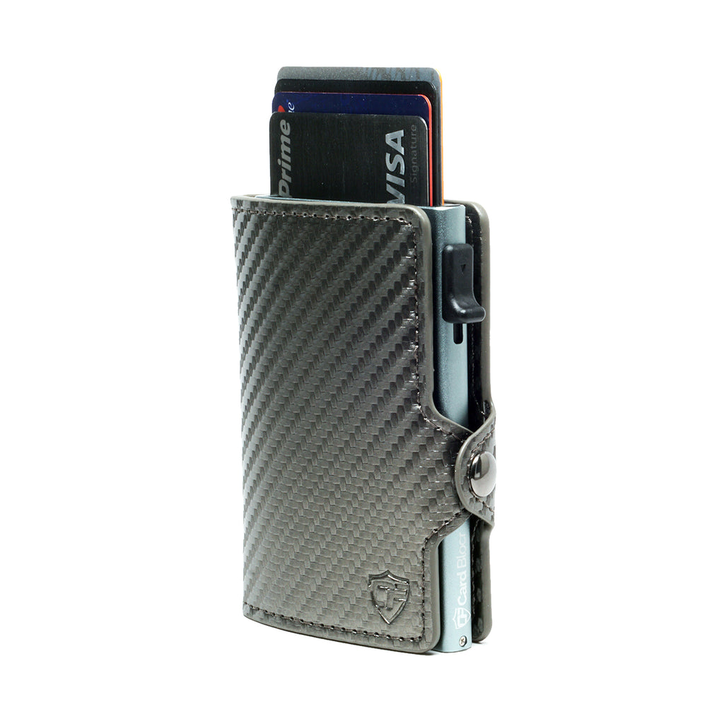 Card Blocr Credit Card Wallet Carbon Fiber PU Leather Titanium Color Minimalist Wallet