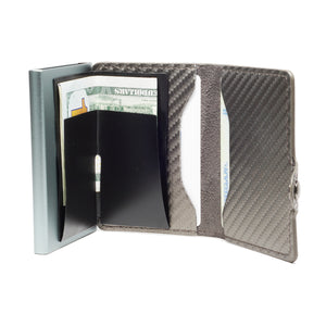 Card Blocr Credit Card Wallet Carbon Fiber PU Leather and Titanium Color Metal Minimalist Wallet