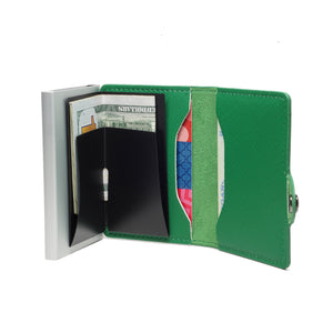 Card Blocr Credit Card Wallet Saffiano Green PU Leather and Silver Metal Minimalist Wallet