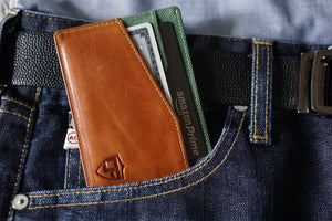 Card Blocr Minimalist Wallet in Distressed Brown Leather & Green Nylon | RFID Blocking Wallet