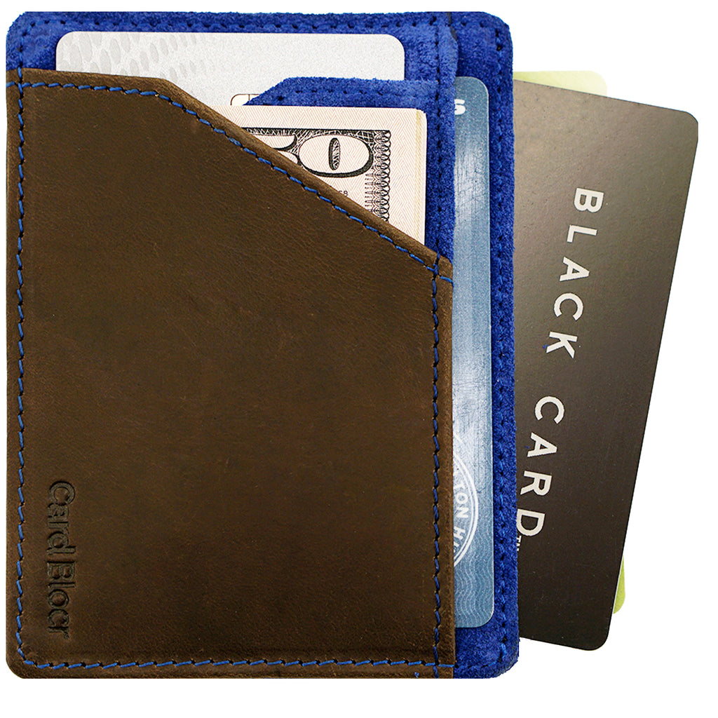 Card Blocr Minimalist Wallet in Brown Leather & Blue Suede | RFID Blocking Wallet