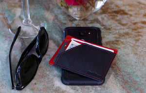 Card Blocr Minimalist Wallet in Black & Red Saffiano Leather | RFID Blocking Wallet