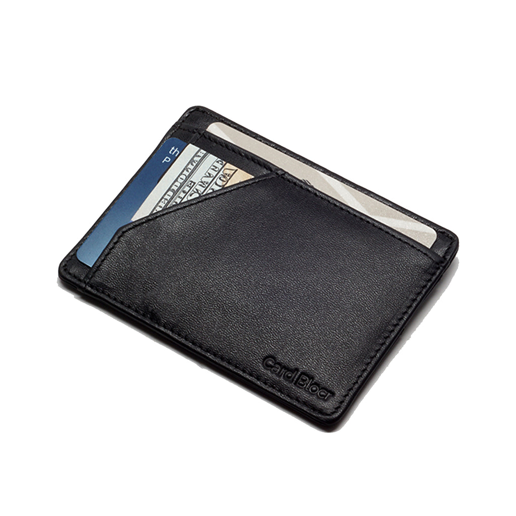Card Blocr Minimalist Wallet in Black Leather | RFID Blocking Wallet