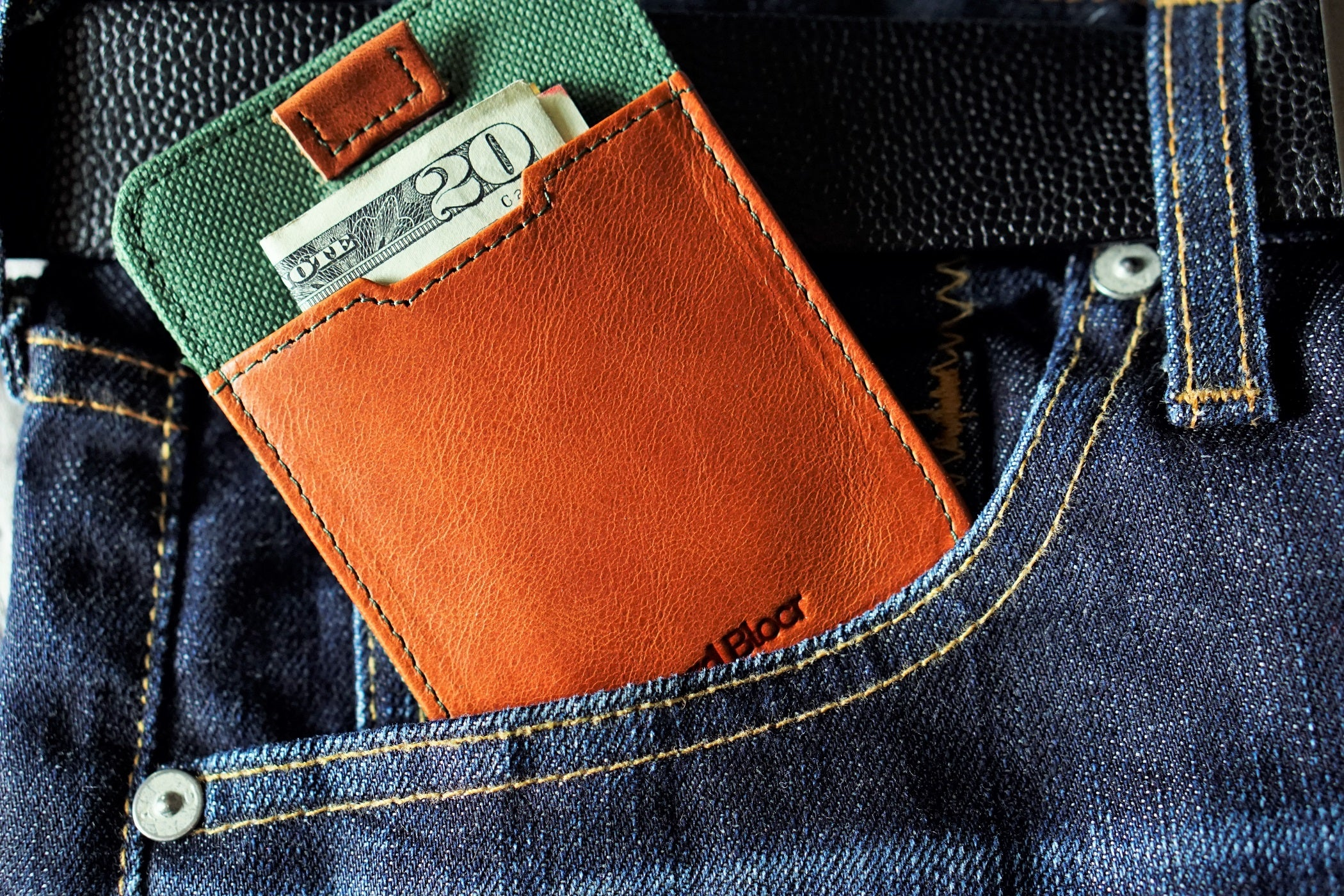 Card Blocr Pull Tab Wallet in Distressed Brown Leather & Green Nylon | RFID Blocking Wallet
