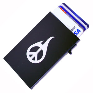 Card Blocr Credit Card Holder in Black with Peace Sign Print