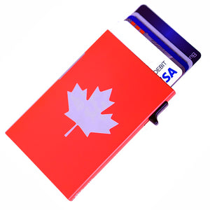 Card Blocr Credit Card Holder in Red with Maple Leaf Print