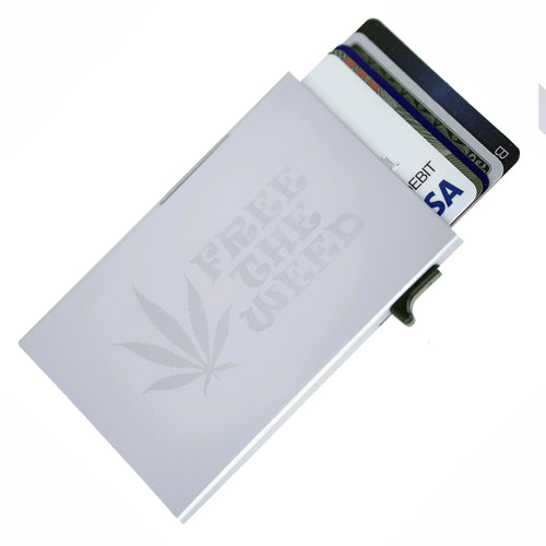 Card Blocr Credit Card Holder in Silver with Free the Weed print