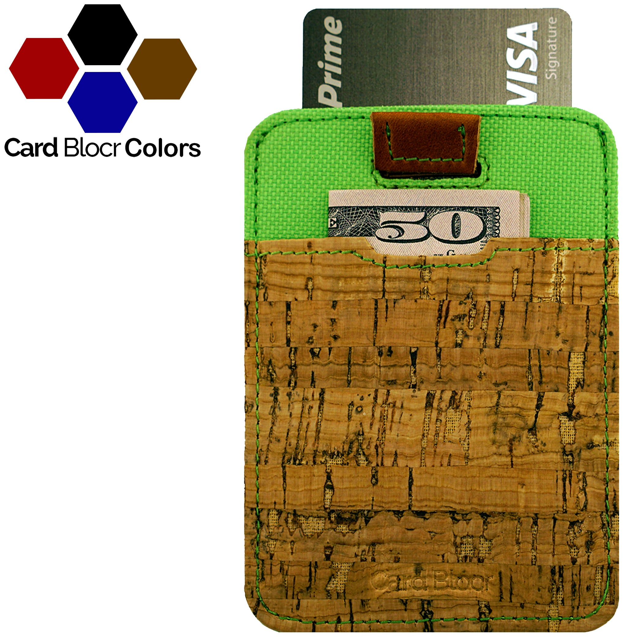 Card Blocr Pull Tab Wallet in Cork & Green Nylon | RFID Blocking Wallet